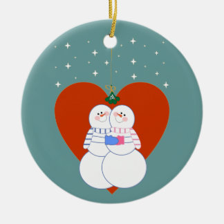 Snowman Couple Holiday Ornament