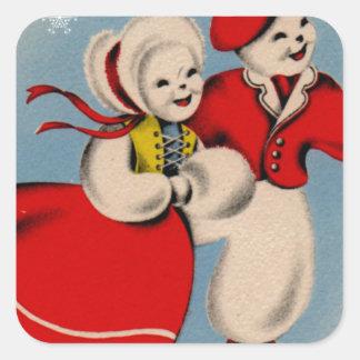 Snowman Couple Ice Skating Square Sticker
