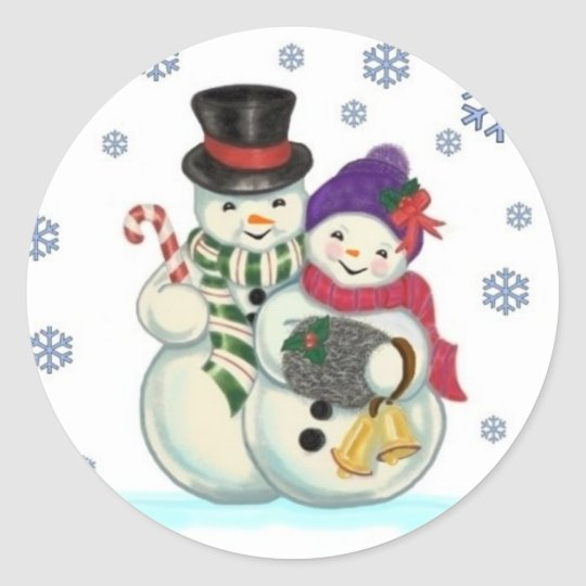 Snowman couple sticker