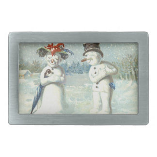 Snowman Couple Winter Snow Field Belt Buckle