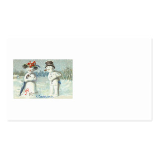 Snowman Couple Winter Snow Field Business Card Templates