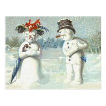 Snowman Couple Winter Snow Field Postcard