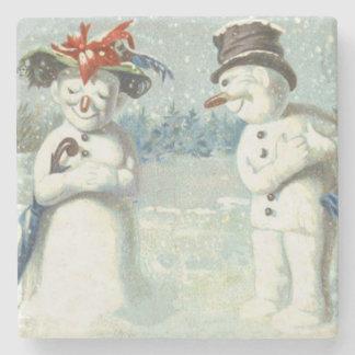Snowman Couple Winter Snow Field Stone Coaster