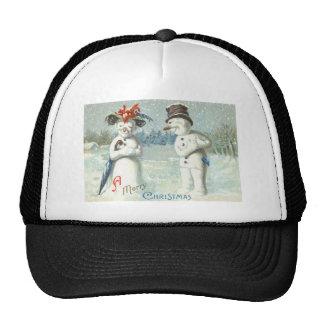 Snowman Couple Winter Snow Field Trucker Hat