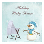 Snowman & Crib Boy's Holiday Baby Shower Personalized Invites