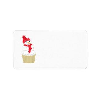 Snowman Cupcake Address Label
