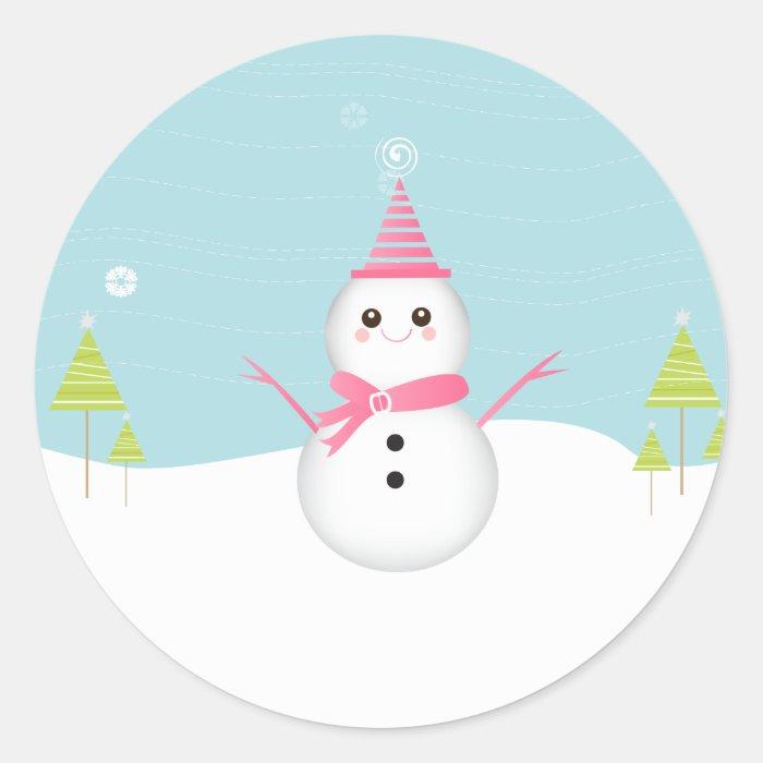 Snowman Cupcake Topper Stickers