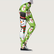 Snowman Custom Leggings Christmas Running Tights