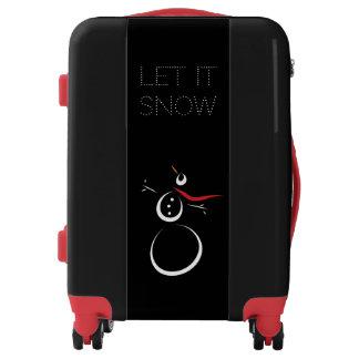 SNOWMAN Cute 'Let It Snow' Black Luggage