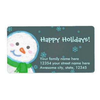 Snowman cute mailing label shipping label
