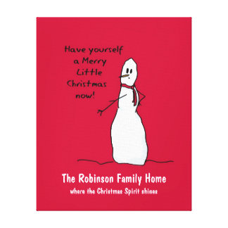 Snowman Cute Merry Christmas Personalized Canvas Canvas Print