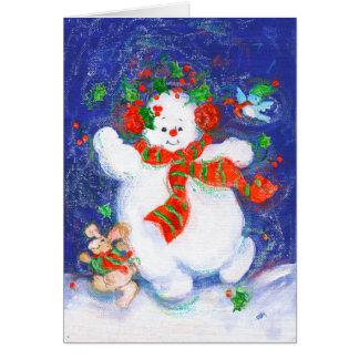 Snowman Dancing Card