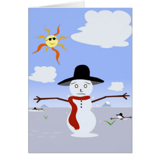Snowman. de fusión tarjeta de felicitación