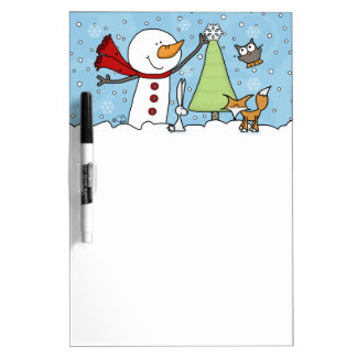 Snowman Decorates Tree with Woodland Creatures Dry Erase Board