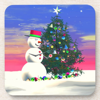 Snowman Decorating Christmas Tree Coaster