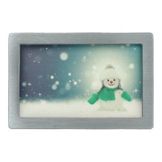 Snowman decoration rectangular belt buckle