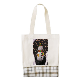 Snowman decoration zazzle HEART tote bag