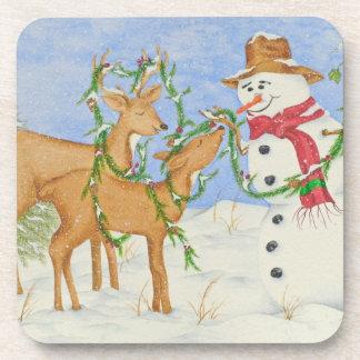 Snowman & Deer Friends - Coaster Set
