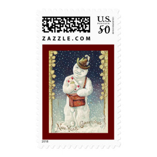 Snowman Delivering Mail New Year Greeting Postage