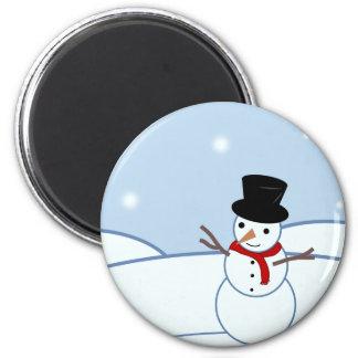 Snowman Design 2 Inch Round Magnet