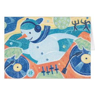 Snowman DJ Christmas Dance Party Card