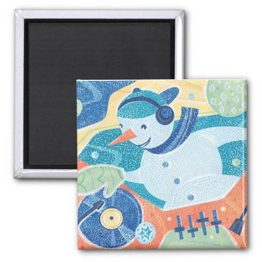 Snowman DJ Christmas Dance Party 2 Inch Square Magnet