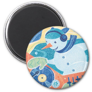 Snowman DJ Christmas Dance Party 2 Inch Round Magnet