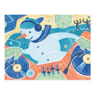 Snowman DJ Christmas Dance Party Postcard