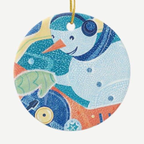 Snowman DJ Holiday Dance Party Ceramic Ornament
