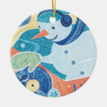 Snowman DJ Holiday Dance Party Double-Sided Ceramic Round Christmas Ornament