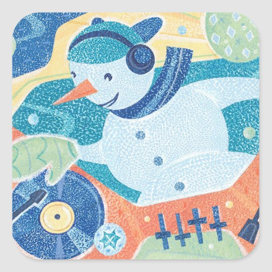 Snowman DJ Holiday Dance Party Square Sticker