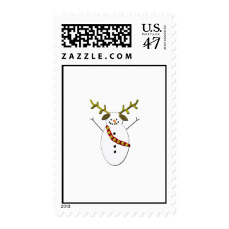 Snowman Dog with antlers Postage