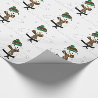 Snowman Doing Martial Arts Wrapping Paper
