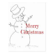 snowman drawing Christmas postcard