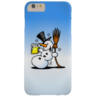 Snowman drinking a beer barely there iPhone 6 plus case