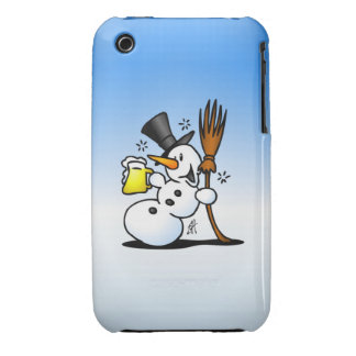 Snowman drinking a beer iPhone 3 Case-Mate cases