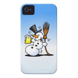 Snowman drinking a beer iPhone 4 Case-Mate case