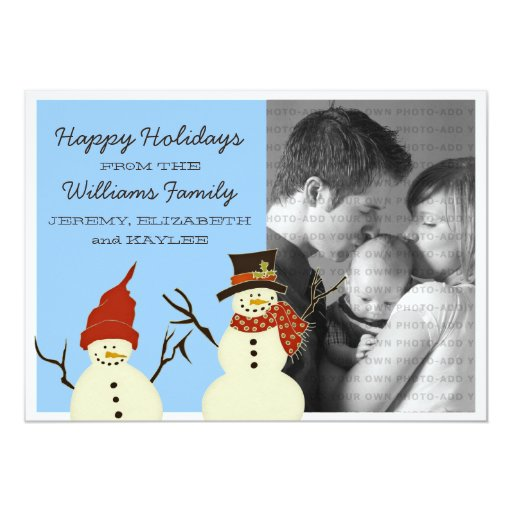 Snowman Duo Holiday Flat Card, Blue 5x7 Paper Invitation Card