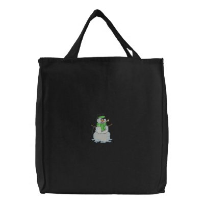 Snowman Embroidered Tote Bag