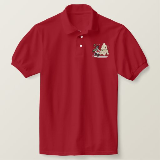 Snowman Embroidered Polo Shirt