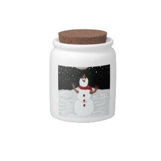 Snowman Enjoying The Moon ~ Candy Jar