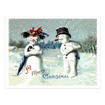 Snowman expressing love on Christmas, vintage Postcard