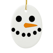 Snowman Face Ceramic Ornament
