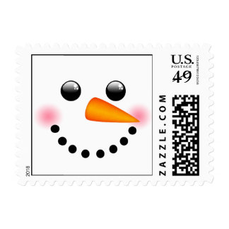 Snowman face postage stamp