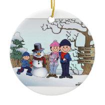 Snowman Family - 1 Boy Ceramic Ornament