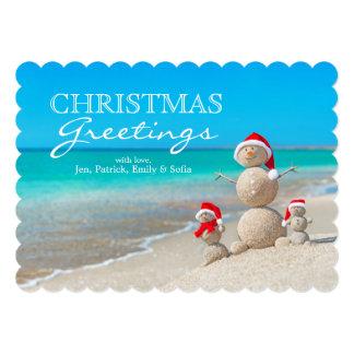 Snowman Family At Sea Beach In Santa Hat 5x7 Paper Invitation Card