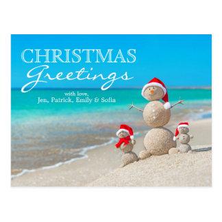 Snowman Family At Sea Beach In Santa Hat Postcard