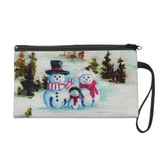 Snowman Family Wristlet Purses