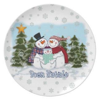 Snowman Family Buon Natale Plate