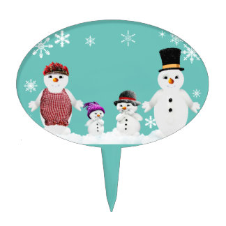 snowman family cake topper